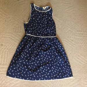 Navy and white dress with whimsy birds